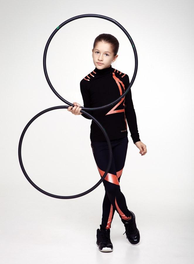 5cd9efa0f2e2e Home/CHILDREN COLLECTION/SET. Girls High Neck Shirt Star & Leggings Set  Black/Orange