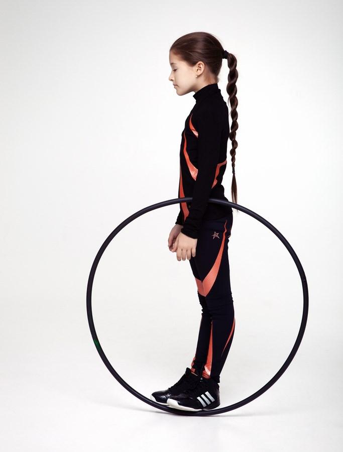 9111332ace694 Home/CHILDREN COLLECTION/SET. Girls High Neck Shirt Flame & Leggings Set  Black/Orange