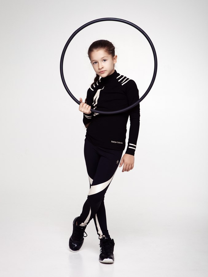 ba67d8681712c Home/CHILDREN COLLECTION/SET. Girls High Neck Shirt Star & Leggings Set  Black/Champagne